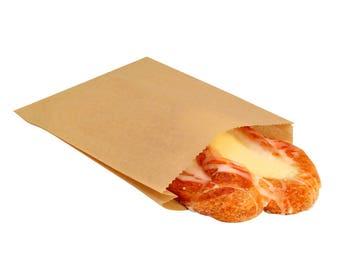 "100 Plain Natural Kraft Paper Sandwich Snack Bags 6"" x 6.5"""