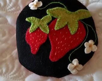 Strawberry wool pincushion