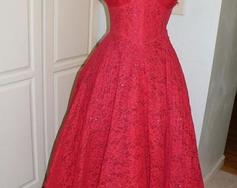 ON SALE 1950's Vintage Red Lace Prom Gown with Sweetheart Tulle Neckline by Cotillion