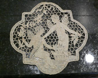 Antique Needlelace Applique Fairies Gathering Flowers     6 X 6 Inches