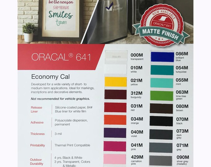 Oracal 641 Matte / COLOR CHART (only!)