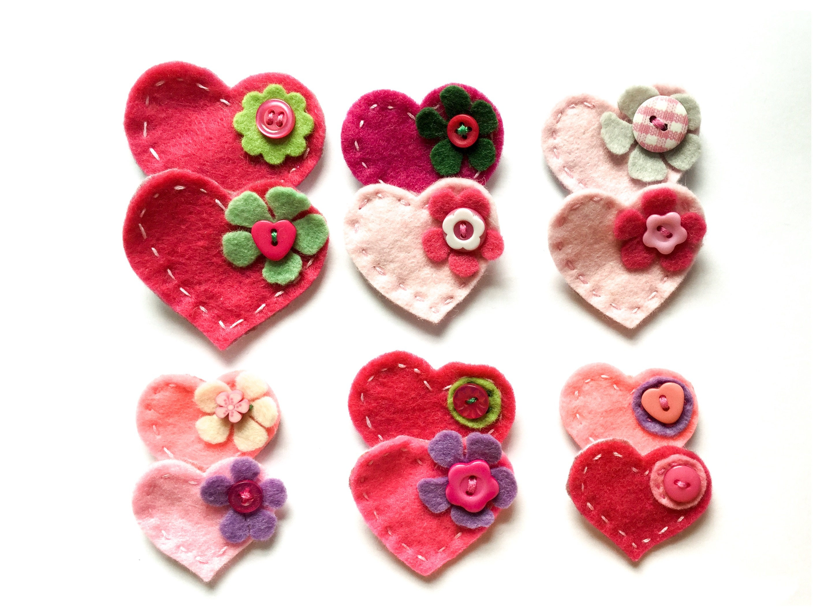 12 pink felt hearts with embellishment appliqu craft for Clearance craft supplies sale