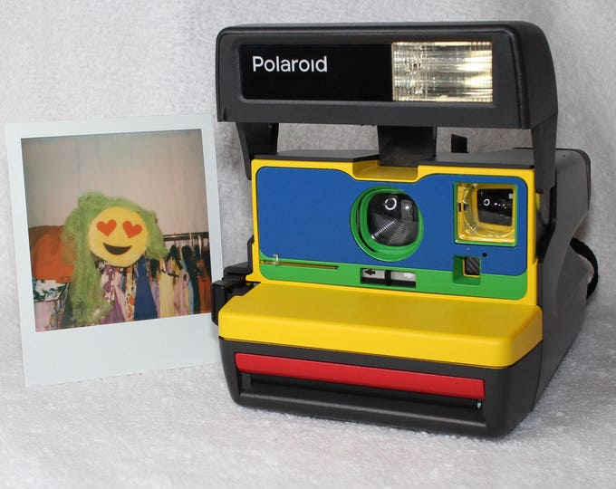 Cleaned & Tested Polaroid 600 OneStep - Upcycled Yellow, Blue, Green and Red With Close Up And Flash Built-In