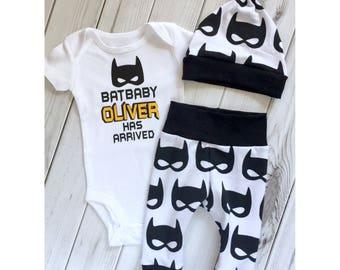 Newborn boy, baby superhero, going home outfit, superhero bodysuit, baby boy gift, batman theme