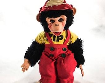 "Zip the Monkey 16"" ZIPPY vintage 1950's RUSHTON stuffed Monkey DOLL toy from Howdy Doody show"