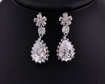 Flower Cubic Zirconia Earrings Bridal Earrings Crystal Earrings Wedding Dangle Drop Earrings Wedding Bridal Jewelry 81076