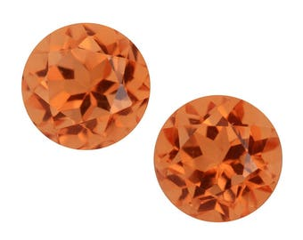 Imperial Orange Triplet Quartz Round Cut Set of 2 Loose Gemstone 1A Quality 8mm TGW 4.85 cts.