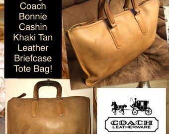 Vintage Coach Bonnie Cashin Khaki Tan Leather Briefcase Tote Bag!