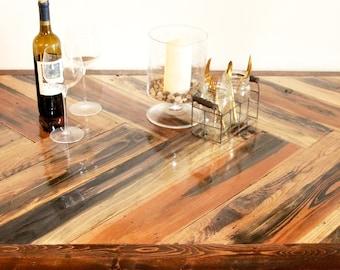 Herringbone recycled wood dining table w/ hairpin legs Mid century Modern Rustic