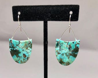 Chrysocolla earrings with sterling silver hook