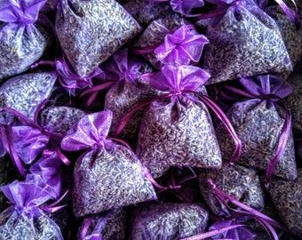 "100, Lavender Sachets 3 x 4"" . Wedding favors. Bridal shower, Baby shower. Organza lavender sachets"