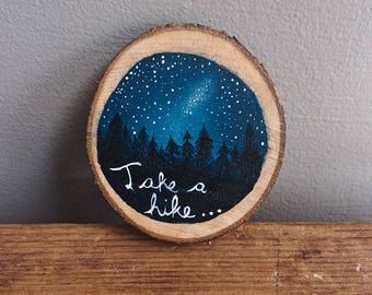 Hand painted wood christmas tree ornaments inspired by nature perfect for the stargazer in your life