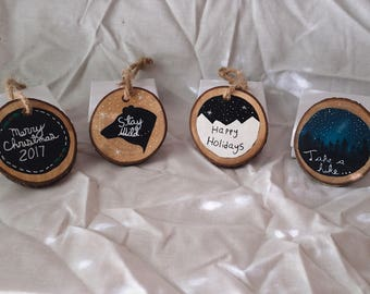 Small hand painted Christmas tree ornaments perfect for the holidays