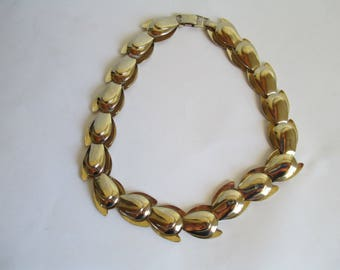 Vintage Jewelry - Jeray Signed Vintage Costume Necklace - Gold Toned For Small Neck - 14 1/2""