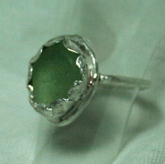 PALE GREEN SEAGLASS Ring - Set in Sterling silver  Dress ring
