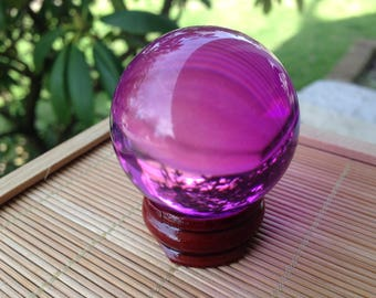 Purple Pink Crystal Ball with Stand