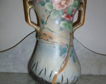 Art Nouveau vase terracotta polychrome c 1900