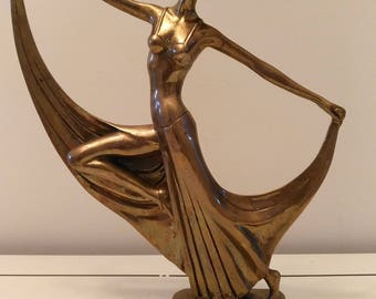 Art Deco brass lady dancer sculpture after LIMOUSIN circa 1930s