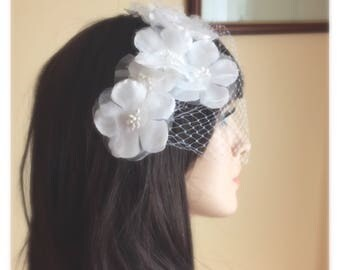 Bridal Birdcage Veil, Wedding Fascinator, Bridal Fascinator, White Birdcage Veil, Appliqué Wedding Veil, White Fascinator, Ivory Fascinator