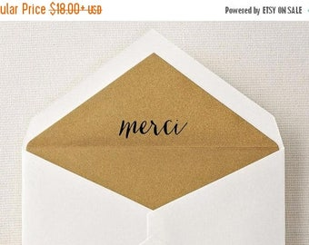 SUMMER SALE Merci Rubber Stamp, Calligraphy Stamp, Custom Rubber Stamp, Wood Handle or Self Inking
