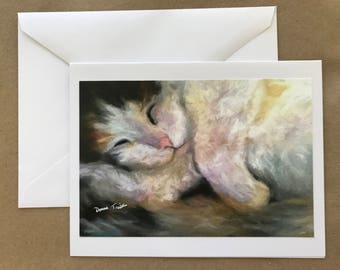Sleeping Calico Cat  Note Card