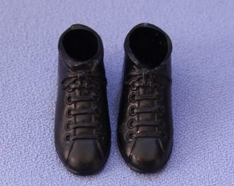 Vintage (Barbie) Ken Doll Black High Top Hiking Boots, Near Mint
