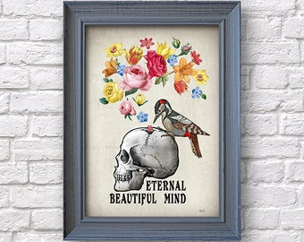 Skull with flowers print, artwork, human skull poster, wall decor, Natalprint.