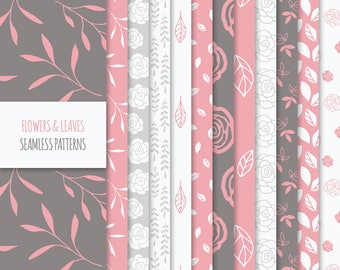 Floral Digital Paper Pack; Vector Seamless Patterns with Flowers, Leaves and Foliage; Printable Scrapbook Papers JPG + EPS; Coral Red, Brown