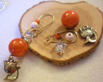 Handmade earring loop KIT * cat and moon red * Doré