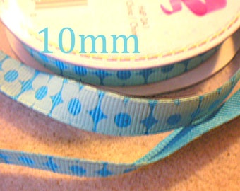 60cm Blue with turquoise flowers 10 mm Ribbon