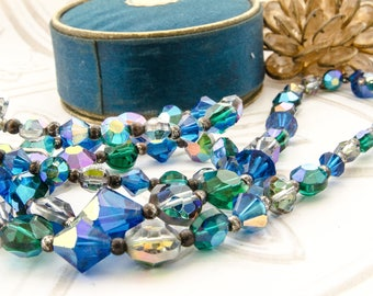 Vintage Multi Strand Necklace - Blue Crystal Jewelry - 1950s  Rockabilly Jewelry - Mad Men Gift For Her - Aurora Borealis Beads