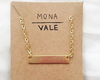Personalized Pendant Bar Necklace