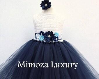 SALE Navy White Flower girl dress, White and Navy tutu dress, navy blue white bridesmaid dress, navy blue princess dress, white navy wedding