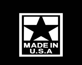Made In USA Decal Made In America Car Decal Wall Decal USA American Made Decal Sticker Yeti Cooler Tumbler Bumper Sticker Car Decal Laptop
