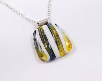 Unique Stiped Fused Glass Pendant - Fused Glass Jewelry - Glass Necklace - Gift for Her