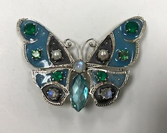 d135 Vintage Sterling Silver Green White Stones Pearl Butterfly Women Brooch Pin