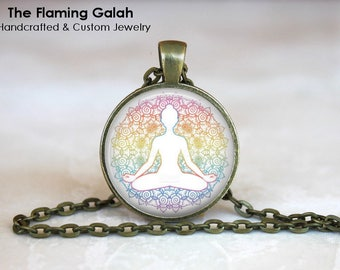 YOGA POSE Pendant •  Yoga Pose •  Watercolour Yoga •  Meditation Pose •  Yoga Jewellery • Gift Under 20 • Made in Australia (P1451)