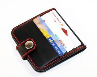 Leather wallet, black wallet, great leather item, black men's wallet, credit card wallet, gift for men.