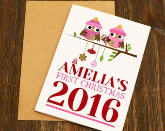 Baby Girls First Christmas Card - Blank Greeting Card - Christmas Art - Christmas Card - Blank