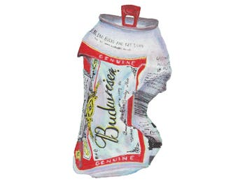 Budweiser // Crushed Can // Soda Can // Beer Can // Oil Painting // Fine Art Print // Pop Art