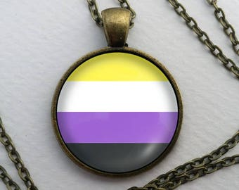 Non-Binary Pride Necklace, Glass Dome Pendant, LGBT Gift, Round Text Art Cabochon Charm Jewelry, Sexuality, Gender LGBTQ LGBTQIA Genderqueer
