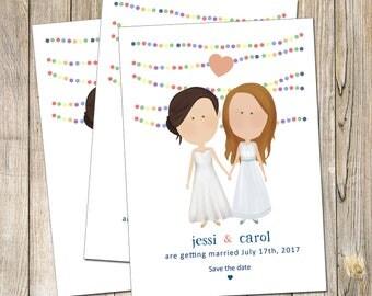 Lesbian Save the Date, Lesbian Wedding invitation Design, Lesbian Couple, Rainbow save the date, Gay wedding save the date, lesbian wedding