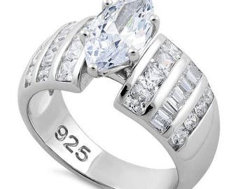 Engagement Ring Sterling Silver 925 Marquise Cut  CZ