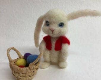 needle felted bunny rabbit with basket of eggs