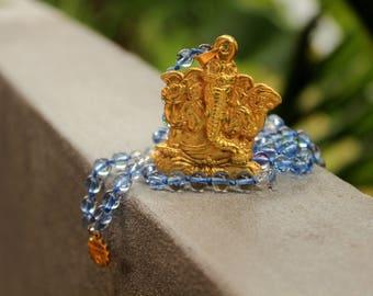 Highly powerful protecting Ganesha, blue quartz& rudraksha Mala