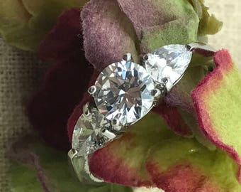 Custom Birthstone Engagement Ring, Bridal Ring, Women's Engagement Ring, Cubic Zirconia Engagement Ring, Women's Engagement Ring
