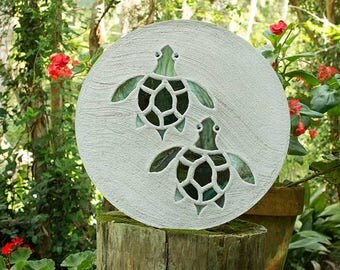 """Baby Sea Turtles Hatchlings Stained Glass Stepping Stone 18"""" Diameter Perfect for Garden Patio or a Path to Your Back Yard Fish Pond #583"""