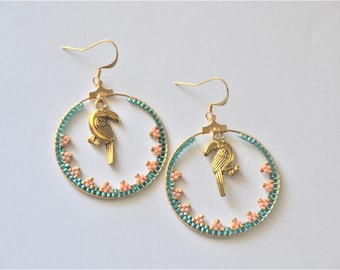 Large hoop earrings lace - Toucan and Turquoise earrings