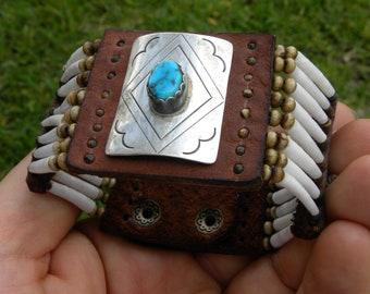 Ketoh Cuff bracelet wristband  Native Indian Navajo sterling silver turquoise signed by artist  good luck shell Bison leather nice gift