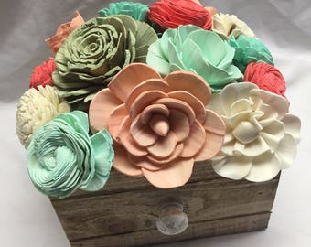 Teal, Coral, Cream and Peach Rustic Sola Wood Centerpiece